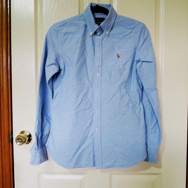 RALPH LAUREN Chambray Blue Shirt M 8 -10