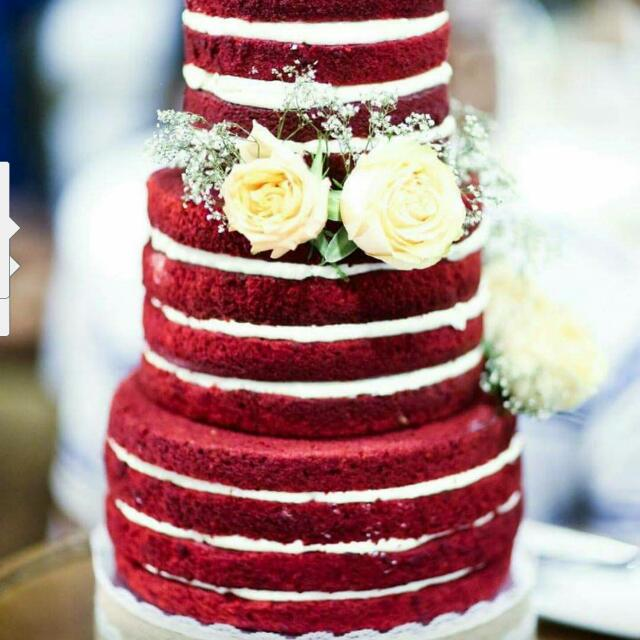 Red Velvet Naked Cake Customised Wedding Cake Food Drinks Baked