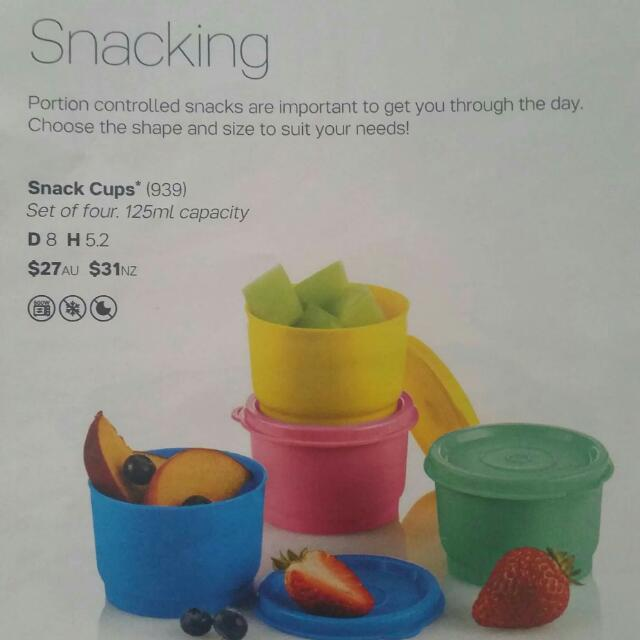 Tupperware snack cups X4 RRP$31