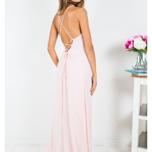 White Fox Boutique Luna tie Back Dress In Pink
