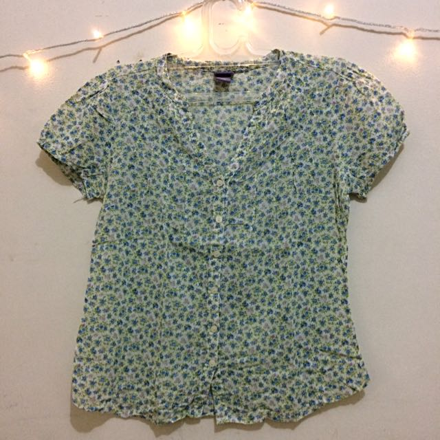 White, Green, and Blue Floral Blouse