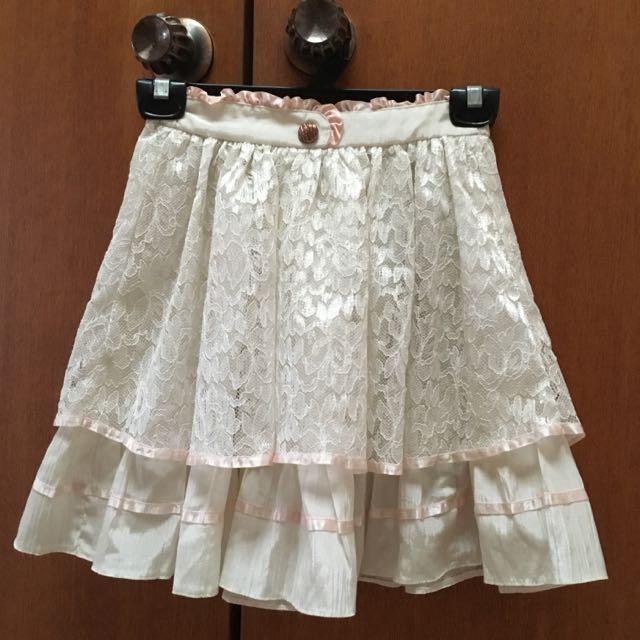White Layered Lace Skirt