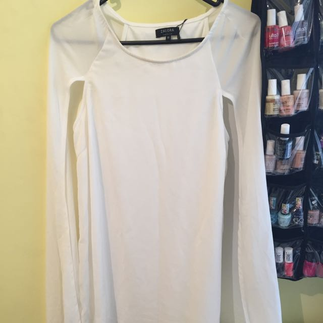 Zalora White Cape Dress