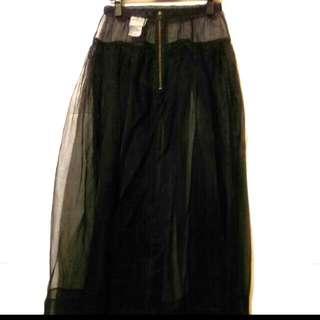 全新iRoo黑色網紗長裙