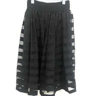 正韓黑色條紋網紗裙