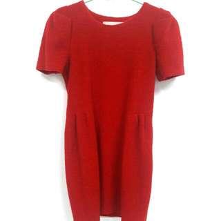 正韓紅色毛呢洋裝