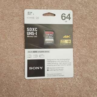 NEW Sony SD Card 64 Gb