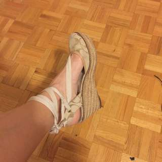 Beige Coach Lace Up Wedges Size 9