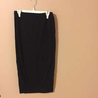 Midi Skirt Black Comfortable Cotton For Everyday  Small