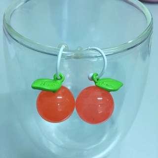 韓款果子橘色可愛耳環
