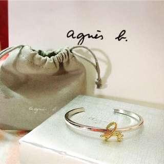 ✨全新agnes b✨Bijoux系列 香檳金 立體b logo c字型手環