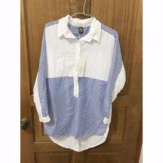 降價!!全新  前短後長藍白條紋拼接襯衫 #兩百元襯衫