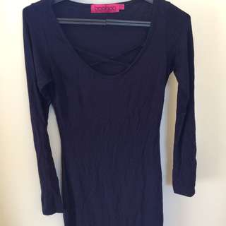 Long Sleeve Boohoo Cross Over Dress