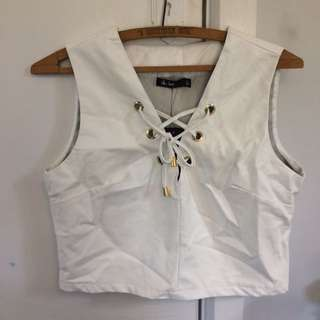 White Fake Leather Top