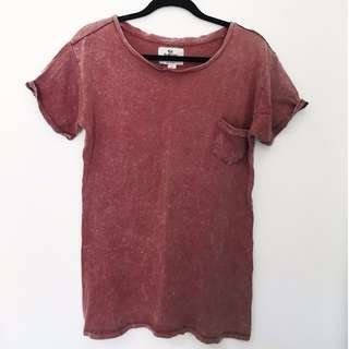 Oversized Faded Vintage Tshirt In Rust Colour