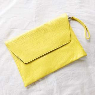 SPORTSGIRL Neon Yellow Oversized Clutch