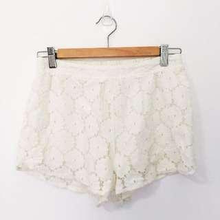 Cream / White Lace Shorts