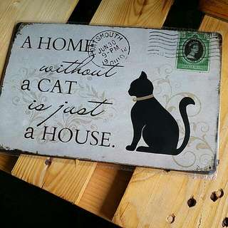 Retro Metal Plate!! Home Without Cat!! 🐱