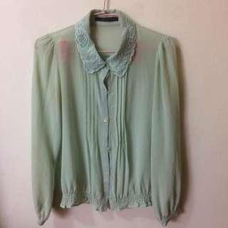 湖水綠透視雪紡襯衫 #好秋服飾