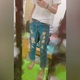 (新)👍刷破男友褲 牛仔褲 破褲 牛仔長褲