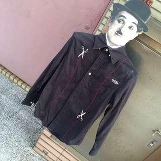 WallyWarp黑色剪刀虛線逗趣長袖黑襯衫