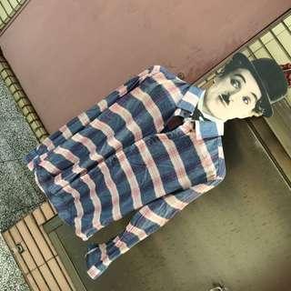堀江服飾店軟質淺紫色格紋長袖襯衫