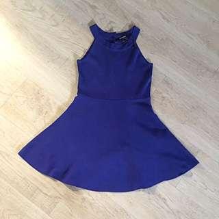 全新藍色針織露肩連身洋裝