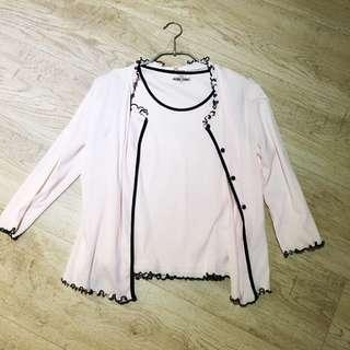 粉紅色蕾絲邊公主套裝背心 加外套