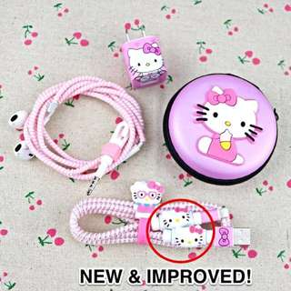 [INSTOCKS SALE!] ✨UPGRADED✨6-in-1 HELLO KITTY Cable-Earpiece PROTECTOR set