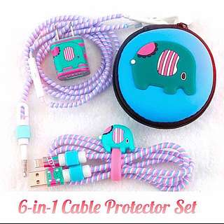 [INSTOCKS SALE!] 6-in-1 ELEPHANT Cable-Earpiece PROTECTOR Set