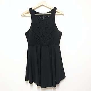 Black Detailed Zip Dress