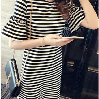 CLASSY SLEEVE STRIPES DRESS (BLACK/WHITE) SD-010BK/WE