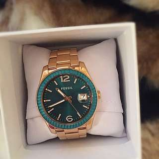 Emerald And Gold Fossil Watch
