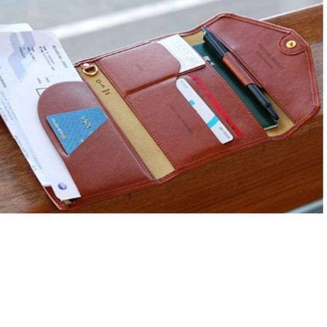 天藍小舖-多功能旅行錢包/護照夾/證件夾-棕色