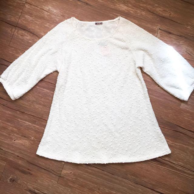 秋日 米白棉球亮片可愛洋裝