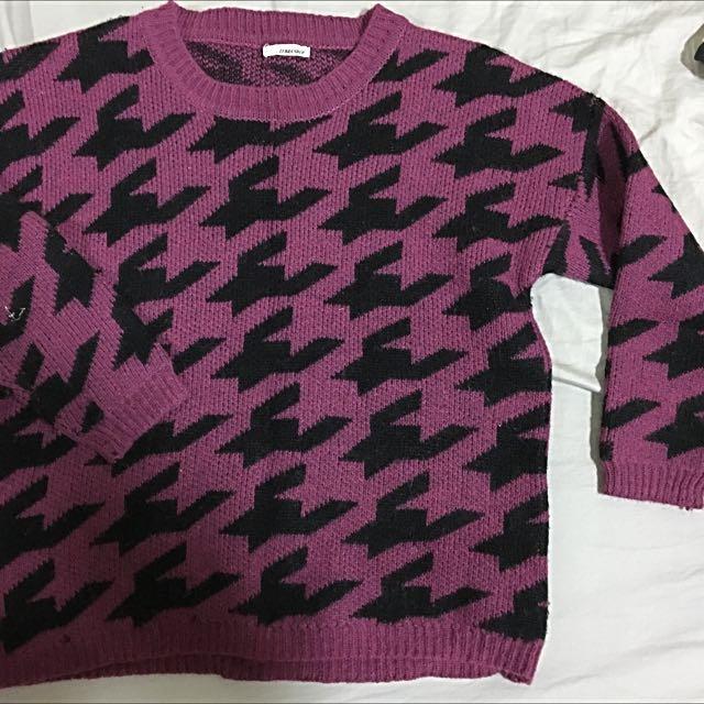 秋冬 千鳥格 紫黑毛衣