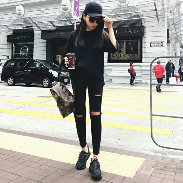 全新  黑色 破褲 鉛筆褲  牛仔褲