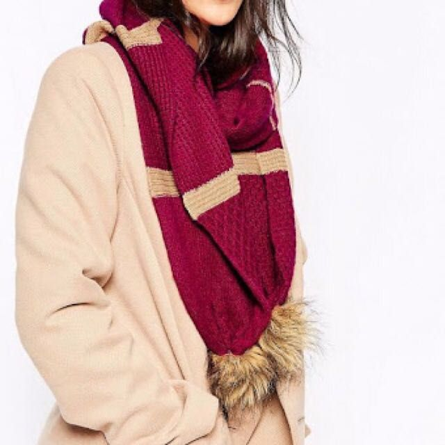 Alice Hannah Pom Pom Scarf (in Cranberry)
