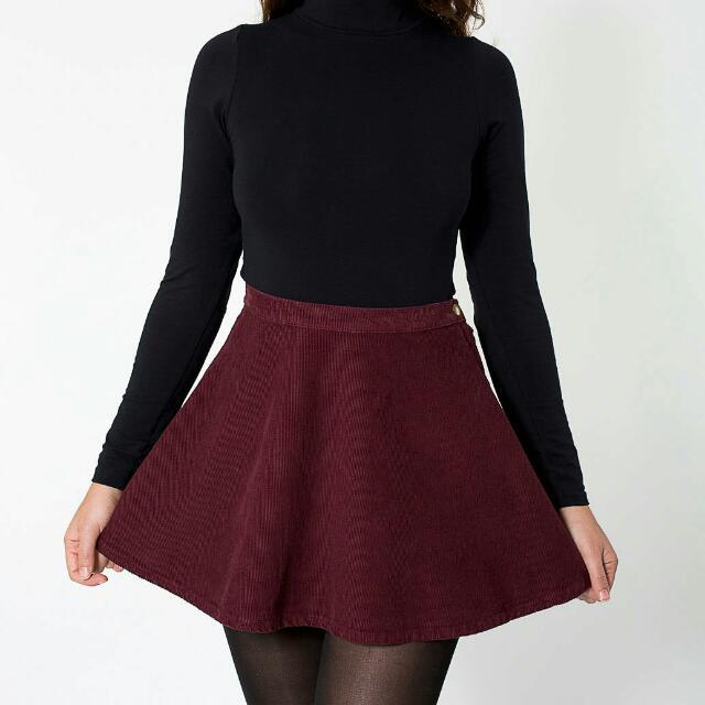 American Apparel Burgundy Corduroy Circle Skirt