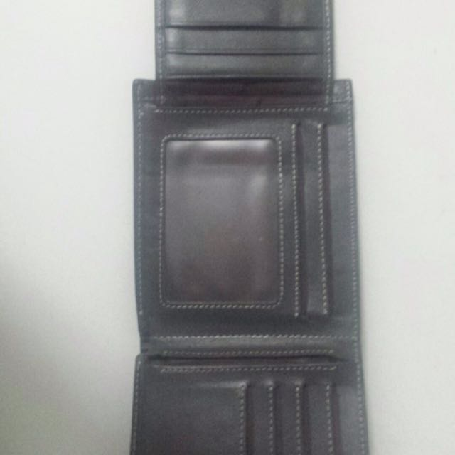 Authentic Bally real leather black wallet fold out