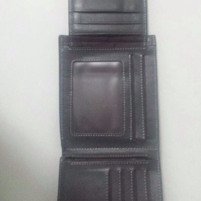 authentic Bally real leather fold out wallet