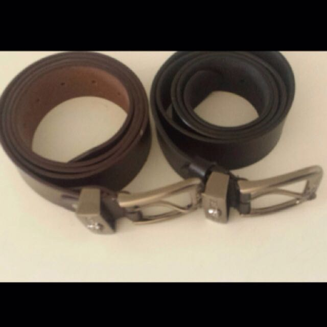authentic Versace 2 belts real leather brown and black