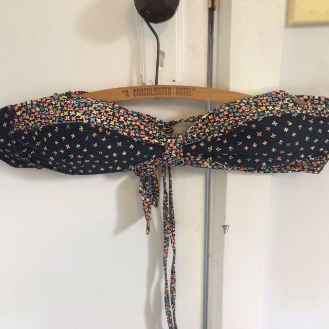 Black Floral Bikini Top