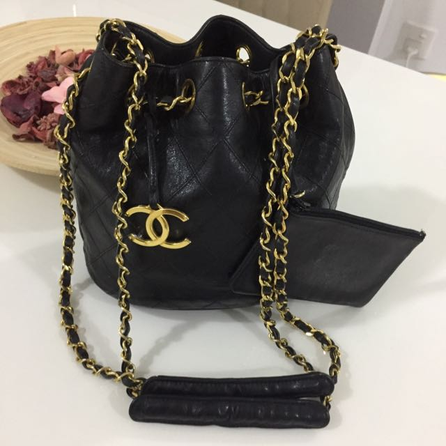 Sold On Installment Chanel Bucket Bag In Black Lambskin Shiny 24k Gold Hardware Lovely Vintage Condition Luxury Bags Wallets Carou