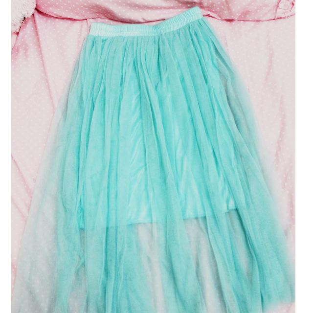 Cyan Blue Tulle Skirt