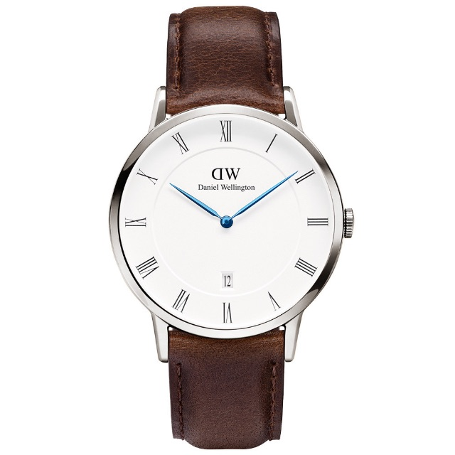 ⌚️DANIEL WELLINGTON DW 手錶 DAPPER 38mm 皮錶帶 藍鋼 銀色 1123DW