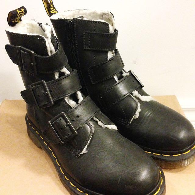 Dr. Martens Billie Black Fur Trimmed Boots