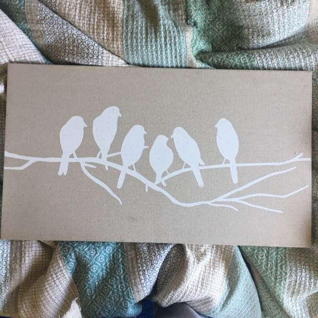 Fabric Canvas With White Birds