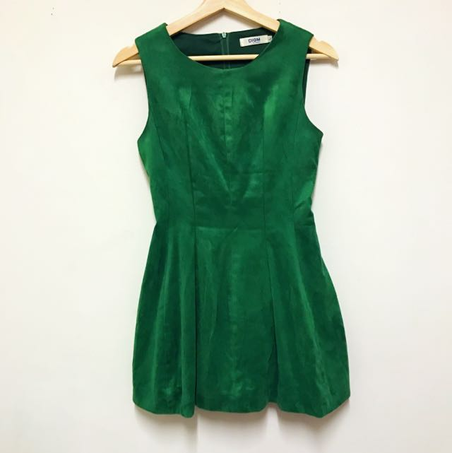 Faux Suede Shaped Grass Green Dress
