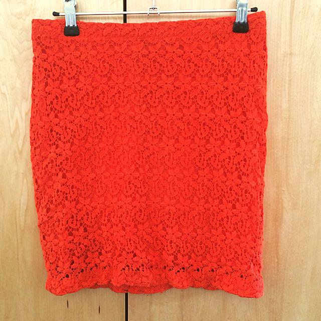 FOREVER21 Orange Crotchet Miniskirt